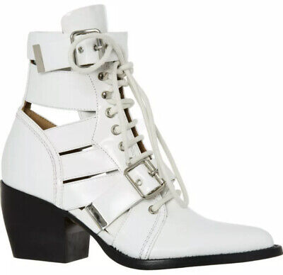 £220 • Buy CHLOE  RYLEE  WHITE LACE UP/CUT OUT LEATHER BOOTS UK8 EUR41 RRP £900 (worn Once)