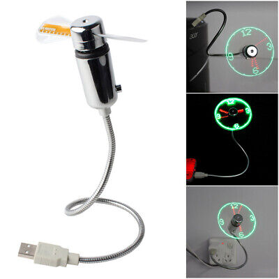 AU10.90 • Buy USB Powered Cooling Mini 5V LED Flashing Clock Fan Real Time Display Function