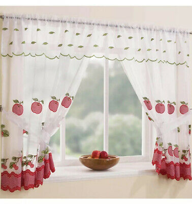 £12.49 • Buy Winchester Red Window Net Curtain Set With Gingham Trim Ready Made