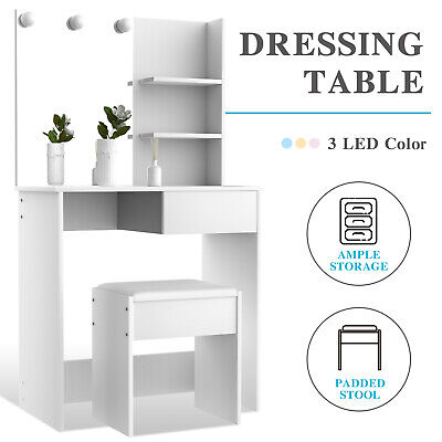AU139.90 • Buy Advwin Dressing Table Makeup Mirror Jewellery Organizer Cabinet LED Bulbs White