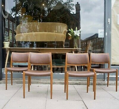 £1495 • Buy A Set Of Four Vintage 1970s Danish Moller 80 Teak Dining Chairs