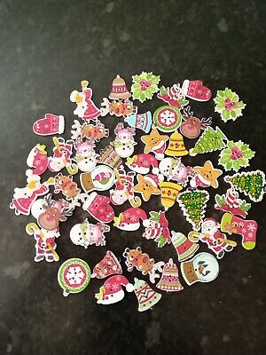 £4.29 • Buy 50 X Assorted Christmas Resin Buttons 2 Hole Tree Santa Angel Snowman Mittens