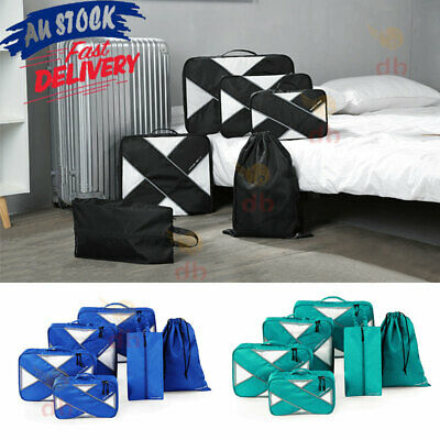 AU20.99 • Buy 6 Packing Cubes Pouch Luggage Storage Travel Suitcase Clothes Organiser Shoe Bag