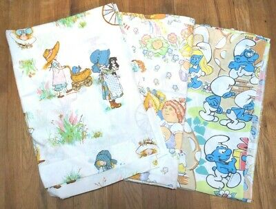 £36.65 • Buy Vintage Holly Hobbie Smurfs Cabbage Patch Sheets Twin Lot Fabric