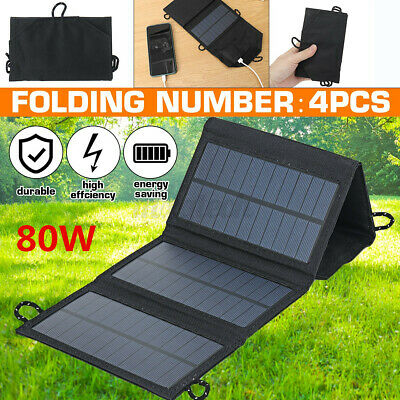 £18.79 • Buy 80W USB Solar Panel Folding Power Bank Outdoor Camping Hiking Phone Charger