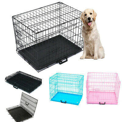 £37.90 • Buy Folding Metal Dog Cage Portable Puppy Pet Crate Carrier 20  24  30  36  BrandNew