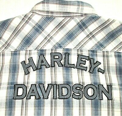 AU54.45 • Buy Harley Davidson Motor Clothes Mens 2XL Snap Front Shirt Plaid Striped Spell Out