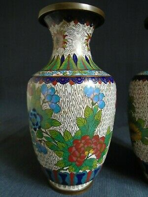 £40 • Buy Chinese Cloisonne Antique Pair Vases C1910, Lightly Worn Condition.
