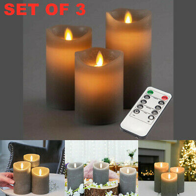 £9.99 • Buy 3X Flickering LED Candle Real Wax Battery Powered Lights Remote Control Lamp Set