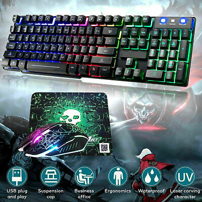 AU58.99 • Buy Wireless&Wired Gaming Keyboard And Mouse Set  Mechanical Rainbow Backlit For PC