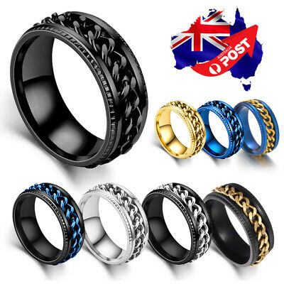 AU8.95 • Buy Titanium Stainless Steel 8mm Spinner Ring Curb Chain Band Men Women Size 6-13