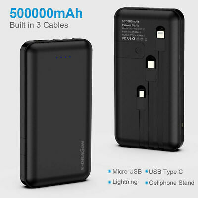 AU29.99 • Buy 500000mAh Power Bank Universal USB Lightning +Type-C Fast Charge Battery Charger