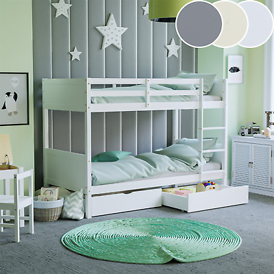 £228.95 • Buy Double Wooden Bunk Bed Solid Pine Children Bed Frame With Memory Foam Mattress