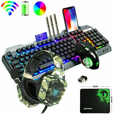 AU104.89 • Buy Gaming Keyboard Mouse And RGB Headset Sets 4in1 Wireless LED Backlit  For PS4 PC