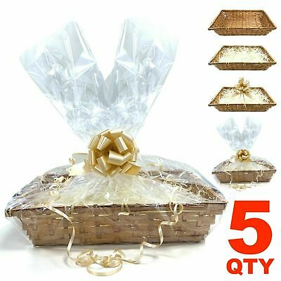 £17.99 • Buy 5x DIY Make Your Own Hamper Wicker Gift Basket Box Kit With Shred+Cellophane+Bow