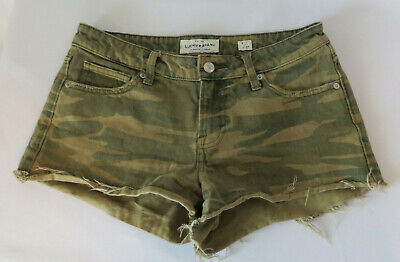 £6.22 • Buy Lucky Brand Size 4/27 Distressed Camo The Cut Off Jean Shorts 2  Inseam