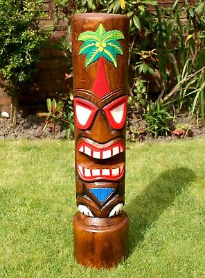 £43.95 • Buy Wooden Tiki Bar Totem Pole Mask Very Large 80cm Hand Carved Painted Decoration