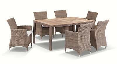 AU2790 • Buy NEW Sahara 6 Seater Outdoor Teak And Wicker Dining Setting In Half Round Wicker