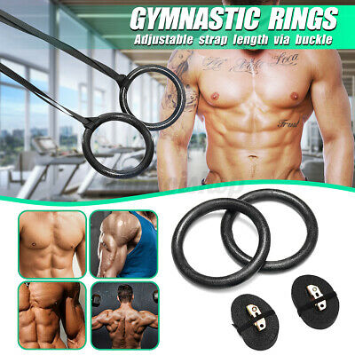 £10.92 • Buy Fitness Wooden Gymnastic Rings With Straps Gym Strength Training Pull Up Pair