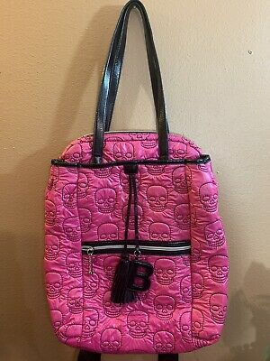 £51.02 • Buy Betsey Johnson Pink Quilted Skull Tote/ Backpack - Retired