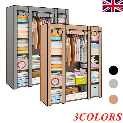 £15.89 • Buy Large Fabric Canvas Wardrobe With Hanging Shelving Clothes Storage Cupboard New
