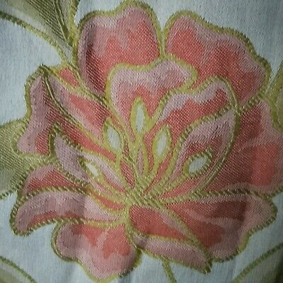 £45 • Buy VINTAGE Floral WOVEN Red Blue Green Fabric Pair Curtains  W 67   L 68
