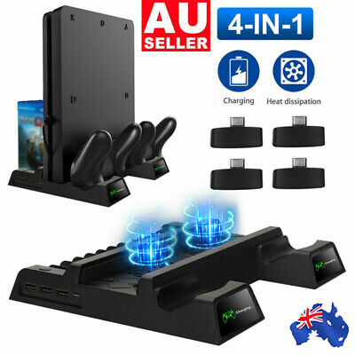 AU39.85 • Buy Vertical Stand For PS4/PS4 Slim/PS4 Pro Cooling Fan Controller Charging Dock AUS