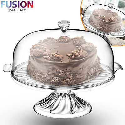 £10.99 • Buy Large Cake Stand 30 CM  With Lid Dome Clear Cover Serving Plate Cupcake Display
