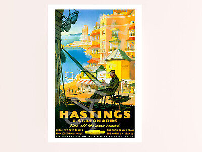 £2.48 • Buy Vintage Hastings St Leonards Holiday Railway Travel Poster Picture Photo Art!
