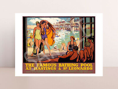 £2.48 • Buy Vintage Hastings Bathing Pool Holiday Railway Travel Poster Picture Photo Art