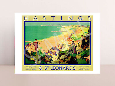 £2.48 • Buy Vintage Hastings St Leonards Holiday Railway Travel Poster Picture Photo Art.