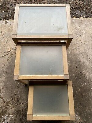 £5 • Buy Nest Of Tables With Glass Tops - 3 Tables