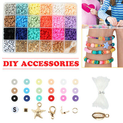 £8.99 • Buy DIY Jewelry Bracelet Making Kit Colorful Soft Clay Ceramic Spacer Beads Tool Set