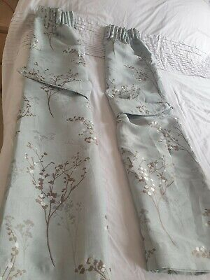 £17.99 • Buy Montgomery Curtains, Duck Egg Blue With Tree Pattern Detail And Tie Backs