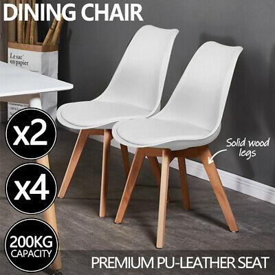 AU85 • Buy Kitchen Dining Chairs Replica PU Leather Cafe Chair Set Of 2/4 Wooden Legs White