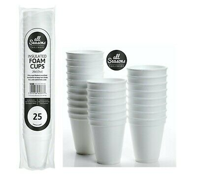 £4.99 • Buy 25 Pack 7oz WHITE FOAM / POLYSTYRENE HOT DRINKS TEA DISPOSABLE CUP PARTY EVENTS