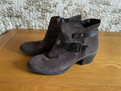 £2.20 • Buy Tamaris Size 6 Grey Suede Ankle Boots With Side Zip And Leather Strap Trim