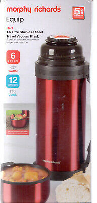 £2.99 • Buy Morphy Richards Travel Vacuum Flask Stainless Steel 1.5 Litre. Red. NEW/BOXED.