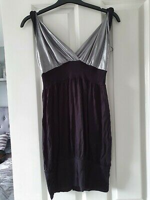 £3.90 • Buy Womans Black And Silver Low Cut Long Vest Top Size 10 Going Out