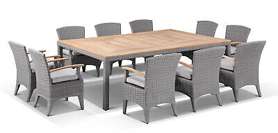 AU3990 • Buy NEW Sahara 10 Seat Outdoor Teak Top Dining Table And Wicker Chairs Patio Setting