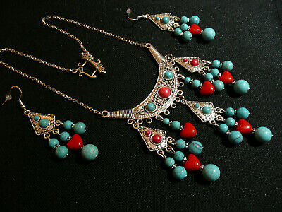 £15.99 • Buy Native American Style Turquoise & Red Hearts Necklace & Silver Long Earrings