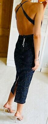 £9.99 • Buy ASOS Premium Runway Sell Out Sequin Bead Embellished Backless Midi Dress 10 8!!