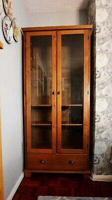 £55 • Buy Wooden Display Cabinet With Glazed Doors And Bottom Drawer
