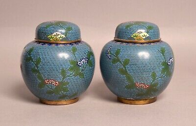 £2.20 • Buy A Fine Pair Of Heavy Antique Chinese Cloisonne Bronze Ginger Jar Vases