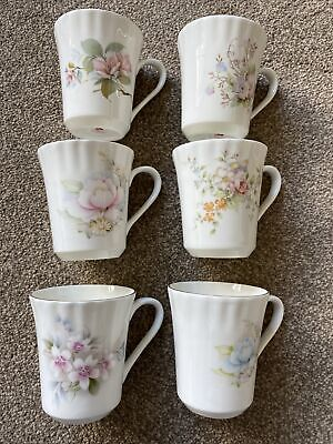 £6 • Buy QUEENSWAY FINE BONE CHINA Floral MUGS Set Of 6 Assorted Patterns