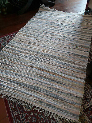 £24.95 • Buy Handmade Recycled Rich Dyed Cotton Rag Rug From India  90cm X 150cm- Natural