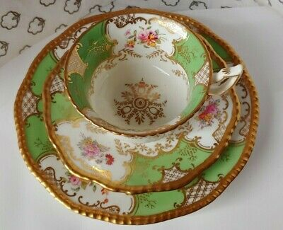 £21 • Buy Coalport ''Green Batwing'' Tea Cup, Saucer And Side Plate (trio)