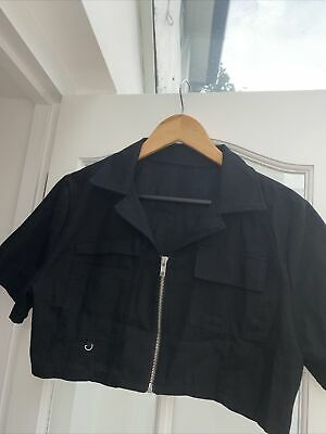 £0.99 • Buy Dazy Black Zip Up Cropped Top Size XL Short Sleeves VGC Hardly Worn