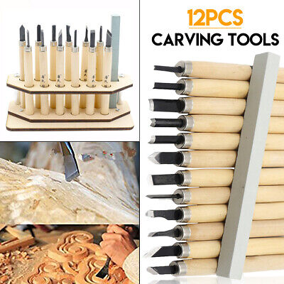 £9.99 • Buy 12Pcs Wood Carving Tool Set Chisel Cutter Woodcut Woodworking+ Whetstone+ Holder