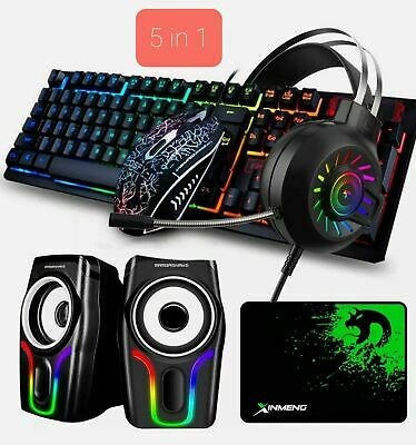 AU73.88 • Buy Wired Gaming Keyboard Mouse And Headset +RGB Speakers Combo 5in1 For PC Laptop